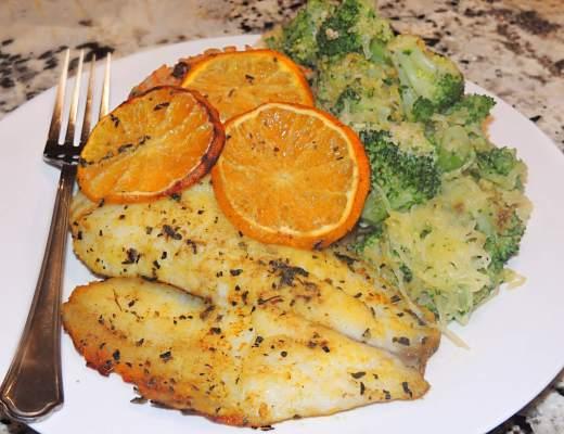 Orange Chili Tilapia and Roasted Broccoli Recipe