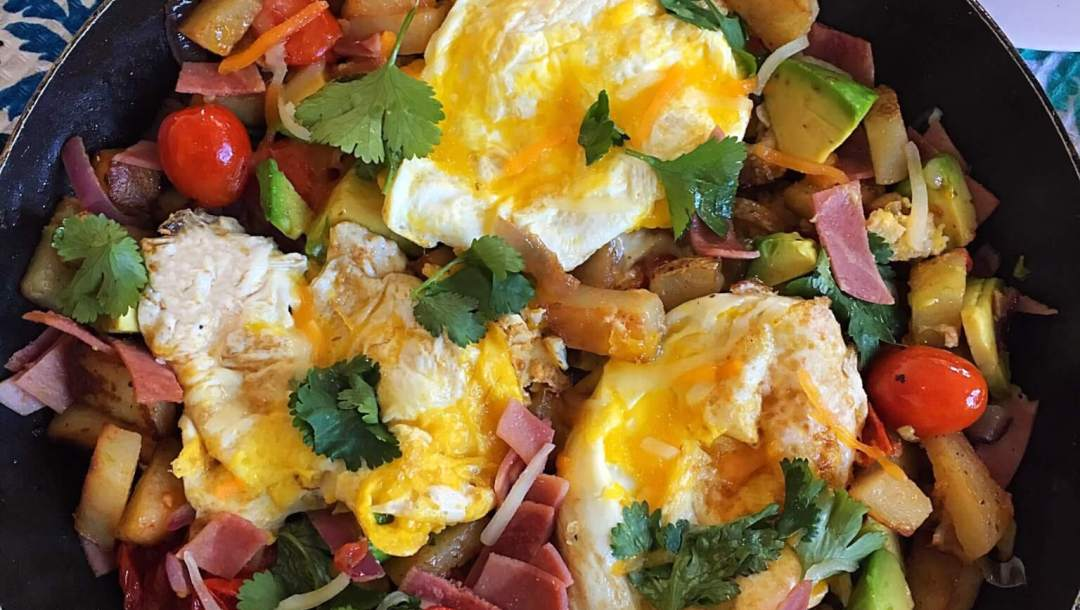 Hash potato with egg and avocado