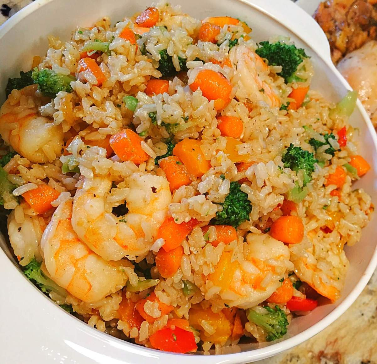 Garlic Shrimp Fried Brown Rice with Vegetables