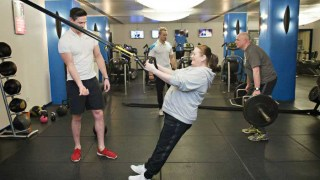 Image of Personal Training clients Donna and Andrew in the Exercise After Stroke class