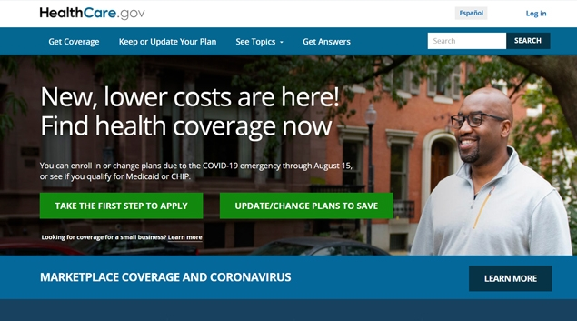 (Screenshot of healthcare.gov.)