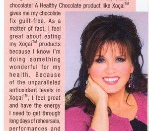 Even Marie Osmond loves Our Healthy Dark Chocolate