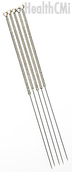 Several filiform needles of stainless steel variety.
