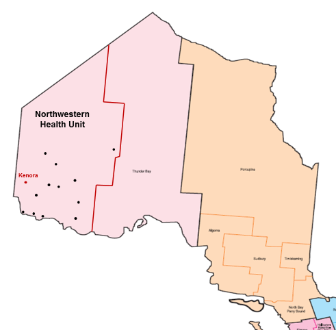 This is an image of a map of Ontario that highlights the catchment area of the Northwestern Health Unit.