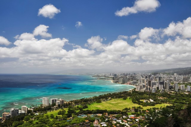Honolulu seen from Diamond Head Crater - Hawaii, USA