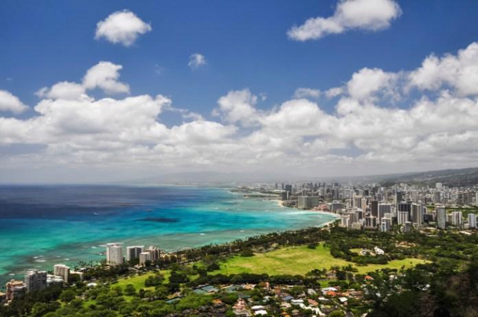 Honolulu seen from Diamond Head Crater - Hawaii, USA