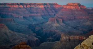 evening light over the tops of the Canyon