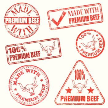 Stamps used to package meat are colored with food dyes