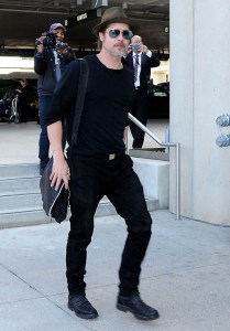 Brad Pitt Departing On A Flight At LAX