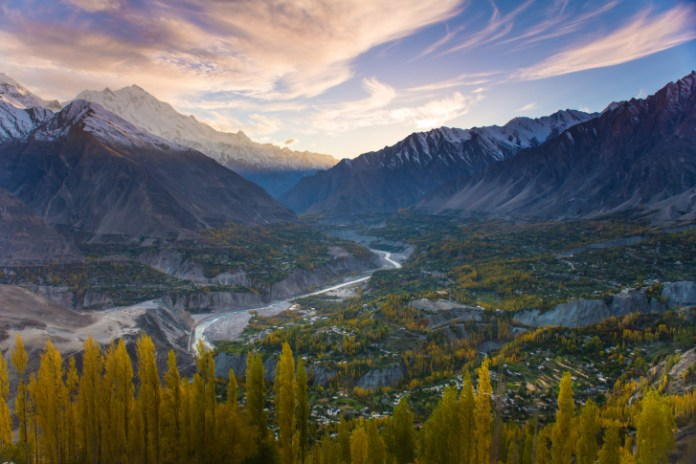 beautiful Landscape of Hunza Valley in Autumn season.