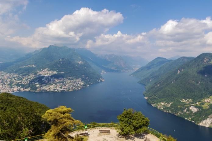 view of Lugano lake from Monte San Salvatore, Switzerland