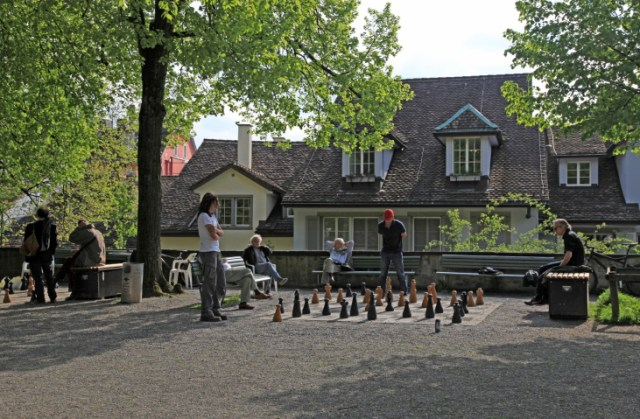 traditional oversized street chess, Zurich, Switzerland.