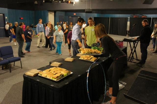 Lakewood Church health and fitness event with healthy foods