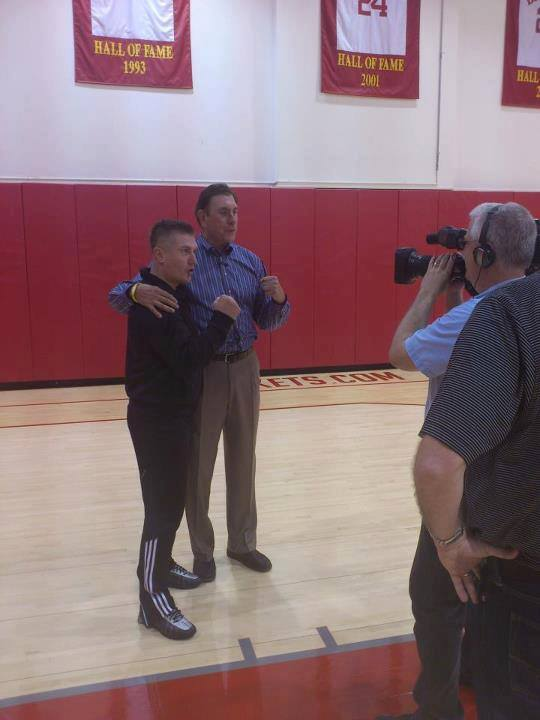 Samir Becic and NBA Legend Rudy Tomjanovich filming a promotion for Houston