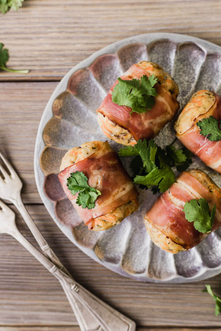 Bacon-Wrapped Turkey Mini Meatloaves