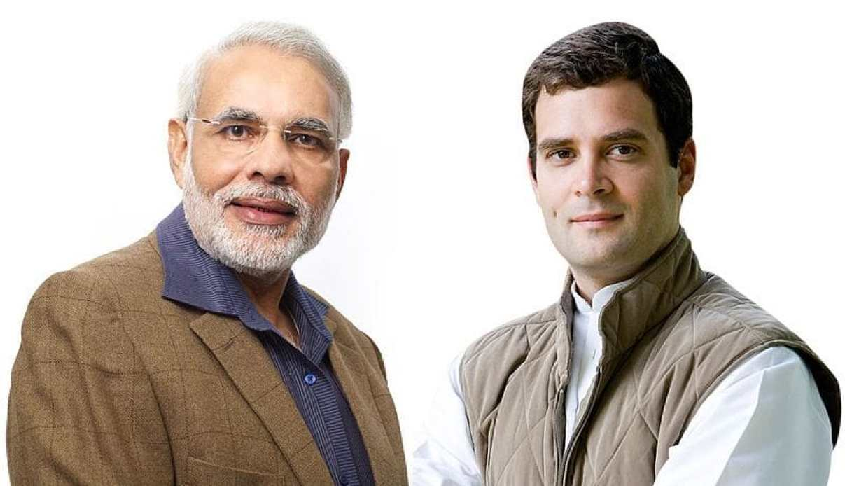 Narendra Modi (left) and Rahul Gandhi (right), who offered opposing views on making Health for All a reality during the 2019 Lok Sabha polls. Image credit: Global Panorama [CC BY-SA 2.0 (https://creativecommons.org/licenses/by-sa/2.0)]