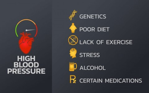High blood pressure Infographics design template, icon vector illustration. An infographic outlining some of the risk factors for high blood pressure. Image credit: Sayan Bunard / 123rf