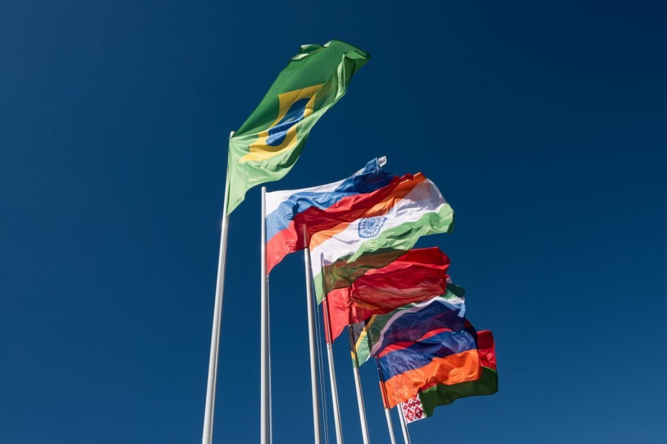 Flags of the BRICS countries in the blue sky.