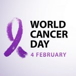 World cancer day 4 february text with violet ribbon symbol. Vector illustration concept for world cancer day. Typography design for poster banner and post on social media. Image credit: Tatiana Vasilyeva / 123rf