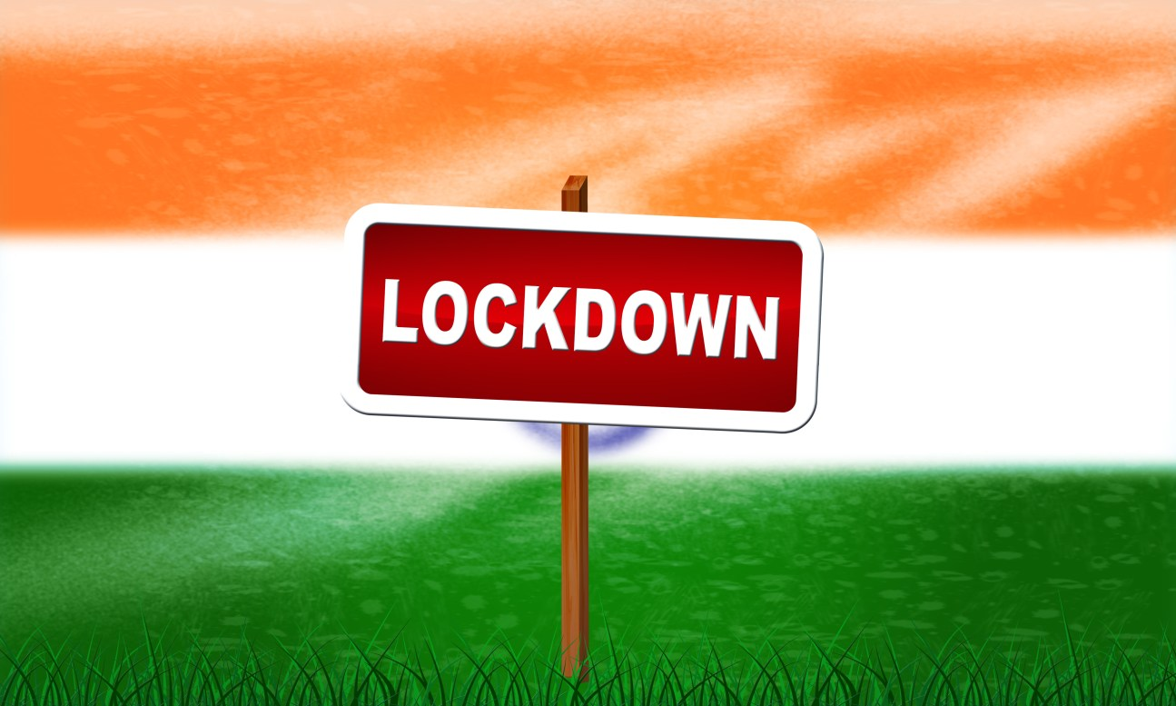 India lockdown preventing ncov epidemic or outbreak. Covid 19 Indian precaution to isolate disease infection - 3d Illustration. 21-day lockdown concept. Coronavirus lockdown.
