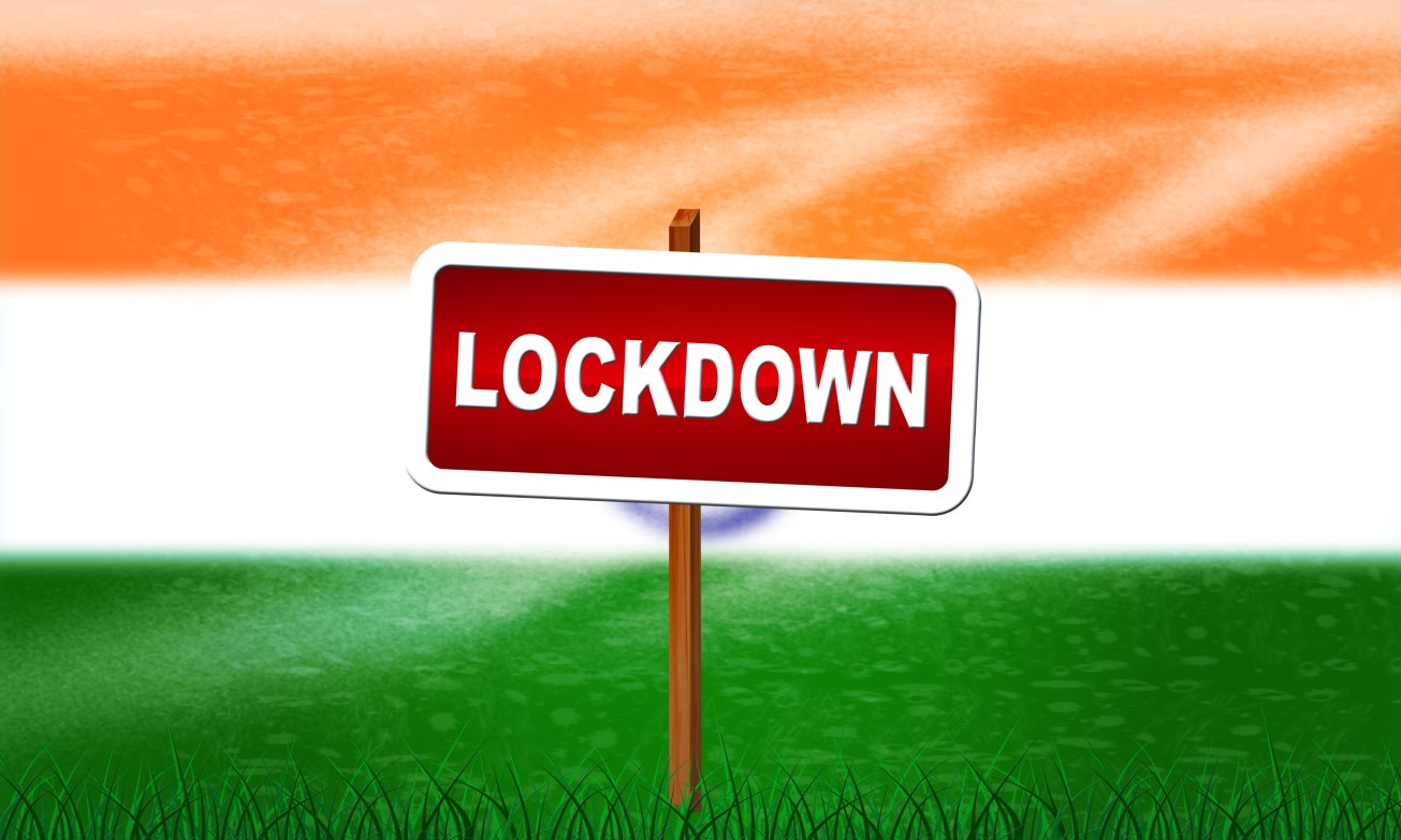 India lockdown preventing ncov epidemic or outbreak. Covid 19 Indian precaution to isolate disease infection - 3d Illustration. 21-day lockdown concept. Coronavirus lockdown. COVID-19 lockdown / quarantine concept.