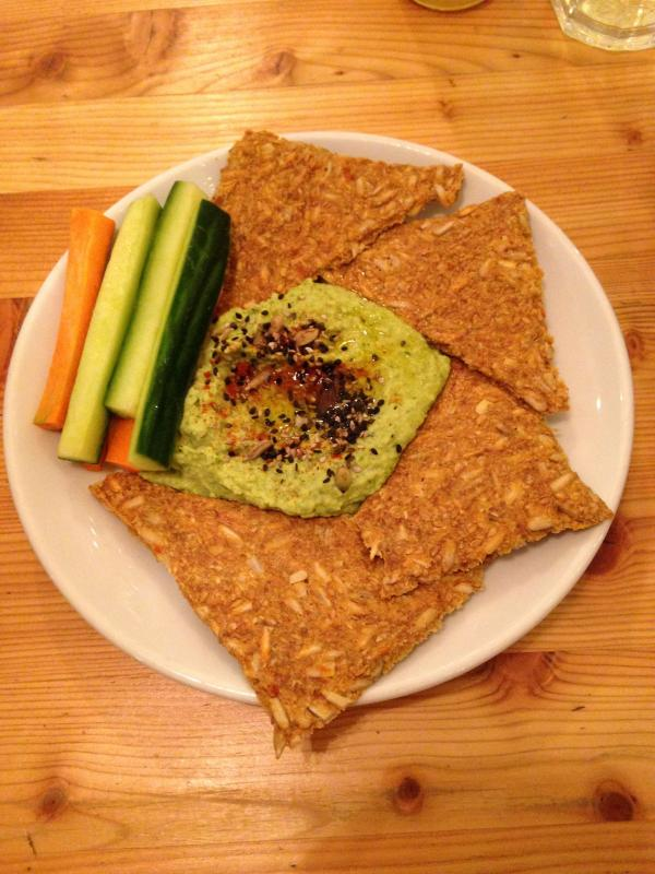 raw seeded crackers and hummus at wildfood cafe raw, vegan restuarant by Healthista