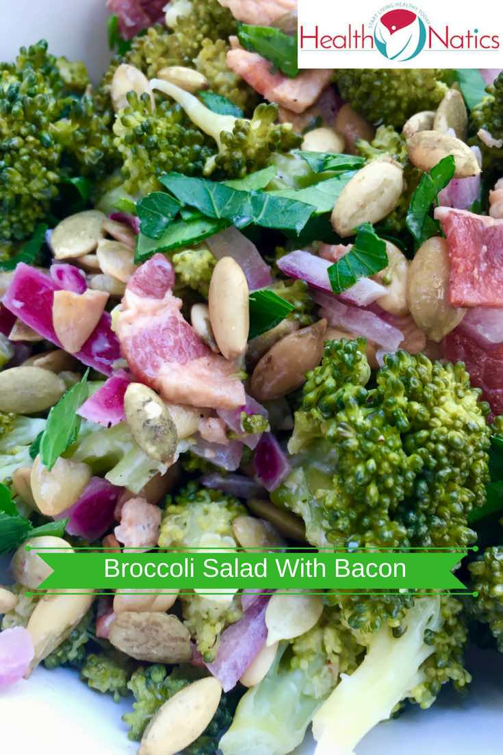 Healthy Broccoli Salad With Bacon And Toasted Pumpkin Seeds (NO MAYO)