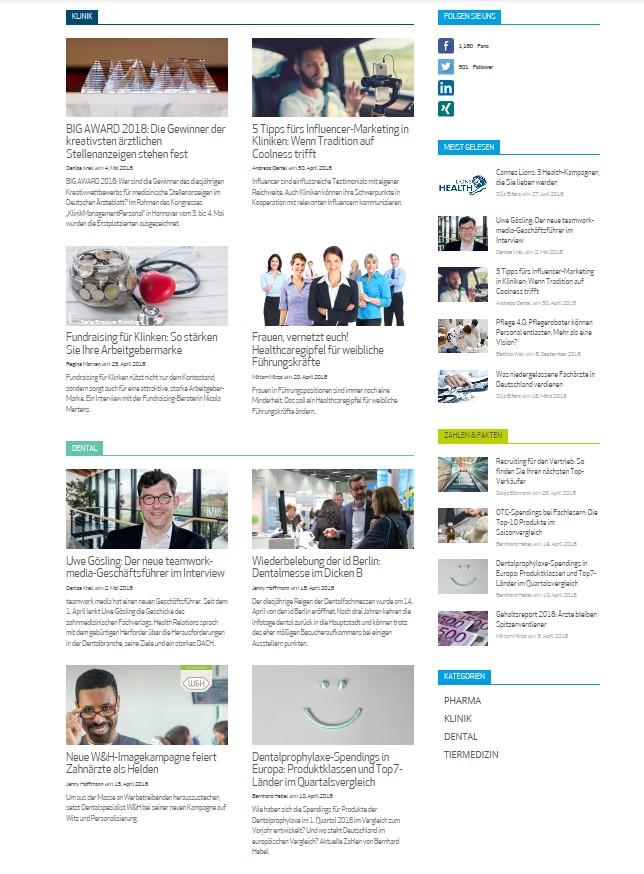 Screenshot Website Health Relations