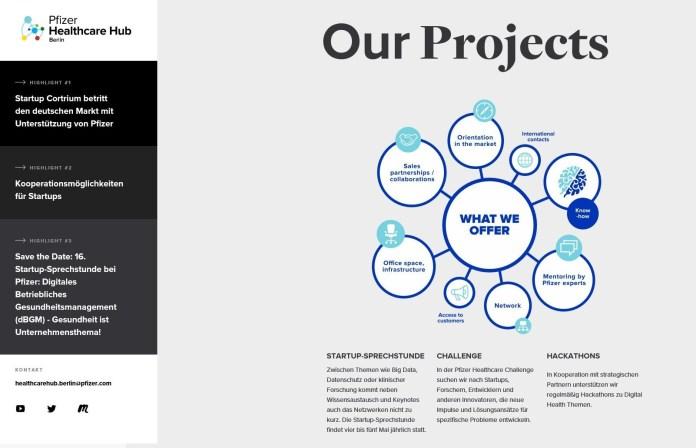 Website für den Healthcare Hub Berlin, eine Idee von Pfizer Deutschland. Netzwerke sind Basis für Beyond the Pill