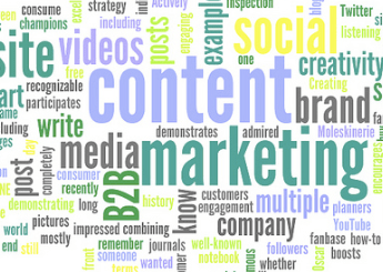 word cloud of content marketing words on Siren Interactive's blog SirenSong