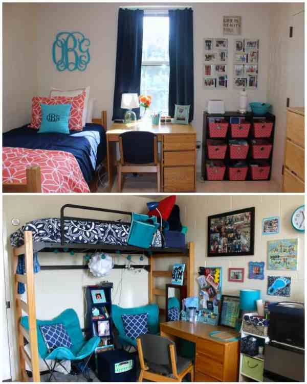 Coral, navy, and turquoise dorm room