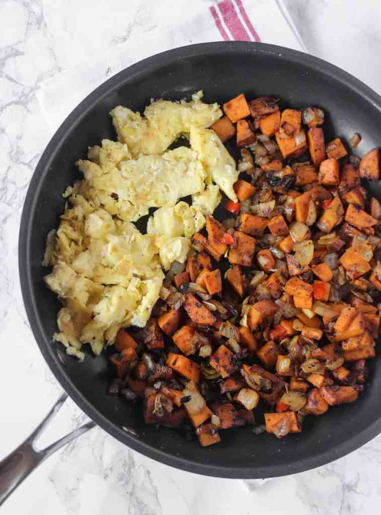 One Skillet Sweet Potatoes are crispy & a healthy side or breakfast dish! | healthy-liv.com