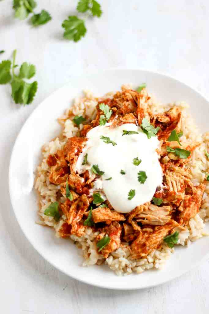 My family LOVED this easy shredded slow-cooker salsa chicken! // healthy-liv.com