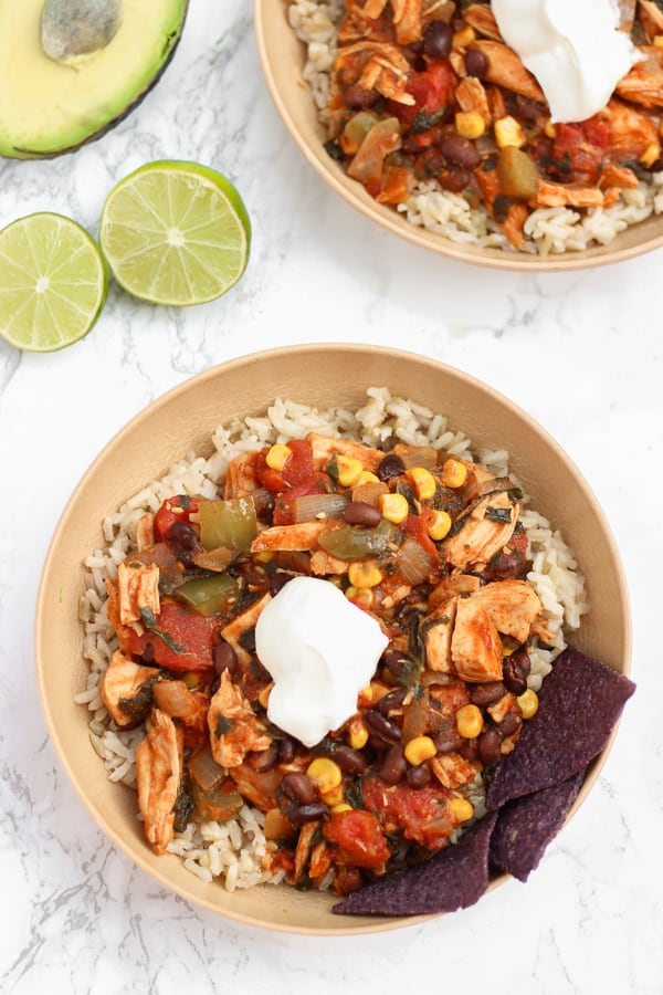 These loaded chicken & veggie enchilada bowls are a super simple healthy Mexican dinner!