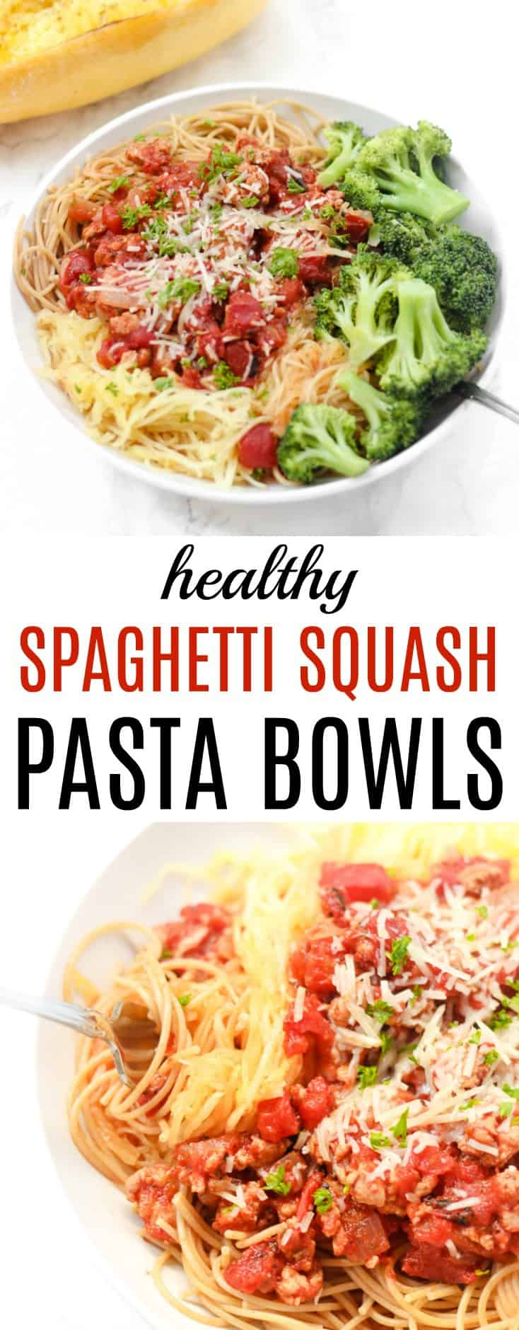 Spaghetti Squash Pasta Bowls are a healthy way to enjoy a giant bowl of noodles!