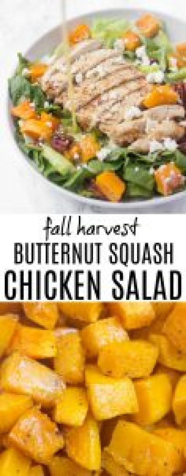 This heartybutternut squash chicken salad has candied nuts, feta cheese, and a zesty lemon poppyseed dressing for a really satisfying main course!