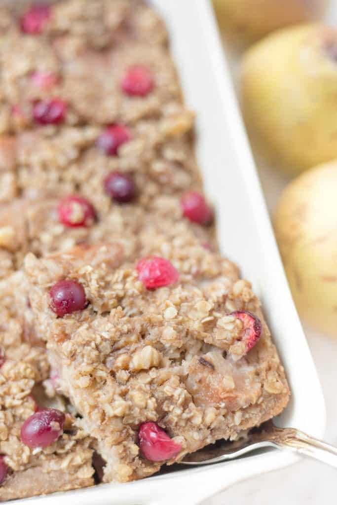 This cranberry pear walnut baked oatmeal is an awesome healthy breakfast! It reminds me of a hearty muffin!