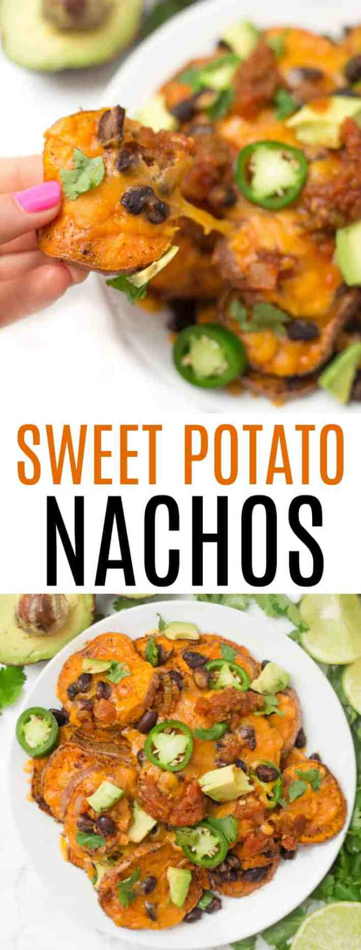 Loaded sweet potato nachos that are even better than traditional nachos! Healthy nachos with sweet potato, avocado, black beans, and melty cheese- what's not to love?!
