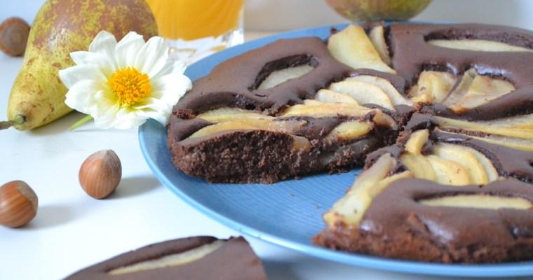 Gâteau fin aux poires et cacao