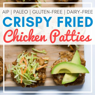 chicken patties topped with coleslaw and avocado with text overlay - Crispy Fried Chicken Patties