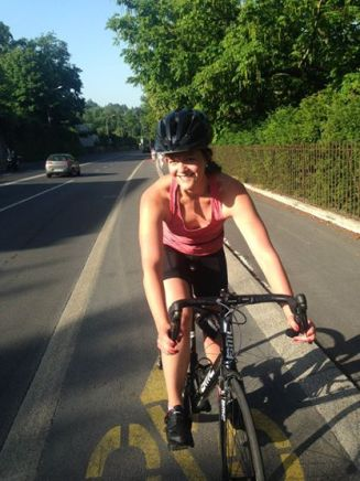 Ashley first triathlon training picture