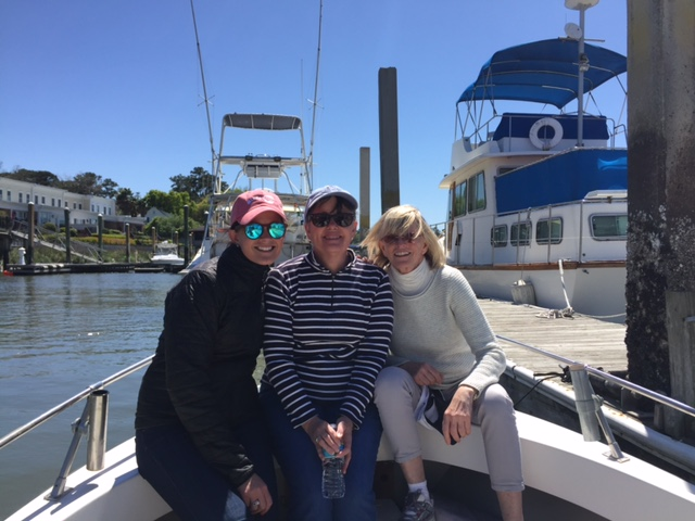 Three girls boat