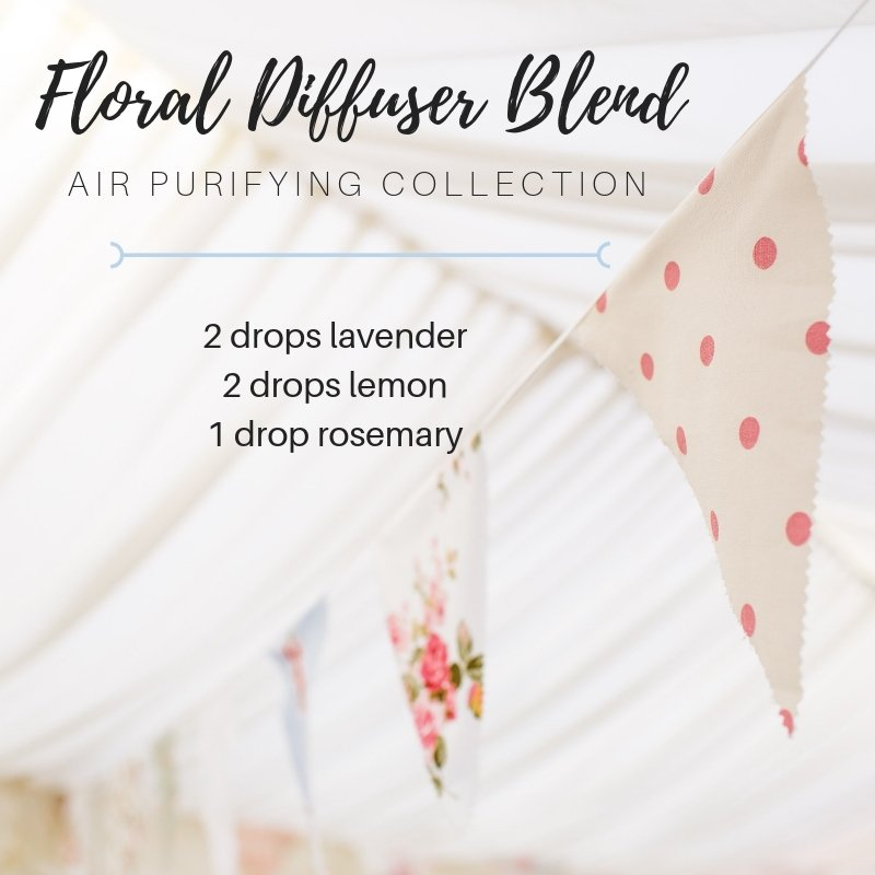 air purifying floral diffuser blend with lavender essential oil, lemon essential oil and rosemary essential oil