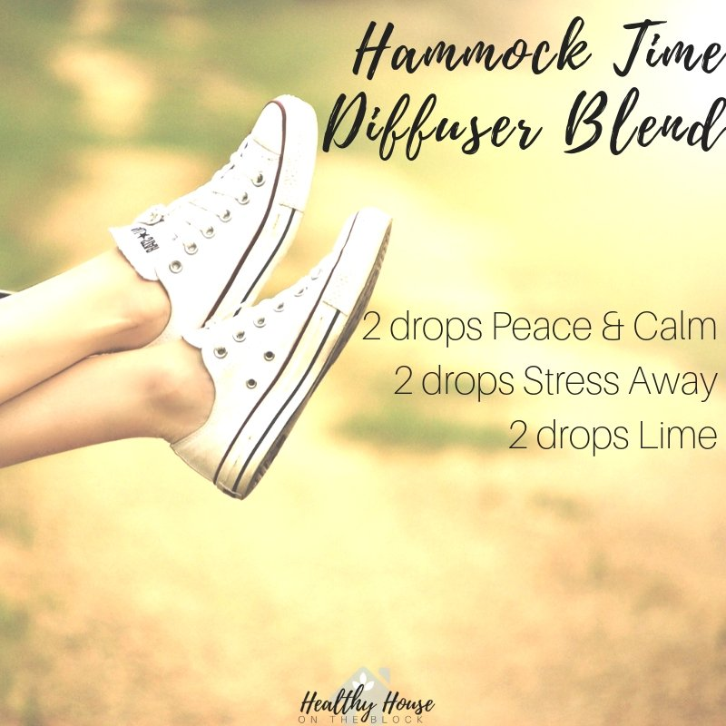 hammock diffuser blend with peace and calm essential oil blend, stress away essential oil blend and lime essential oil