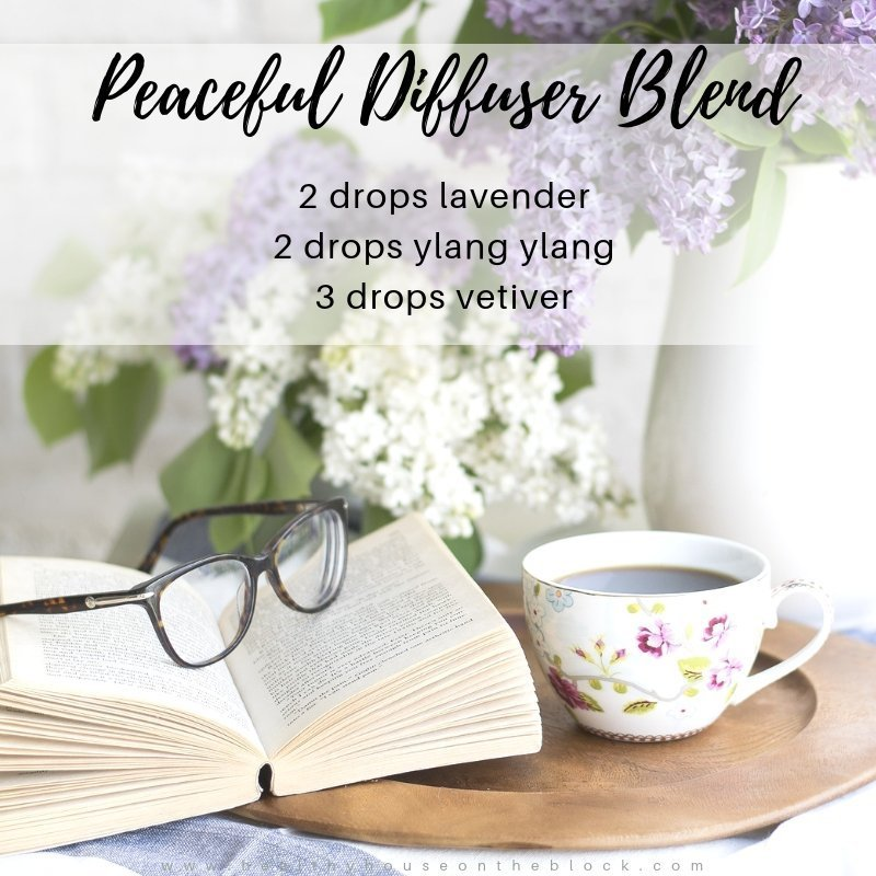 peaceful diffuser blend with lavender essential oil, ylang ylang essential oil and vetiver essential oil