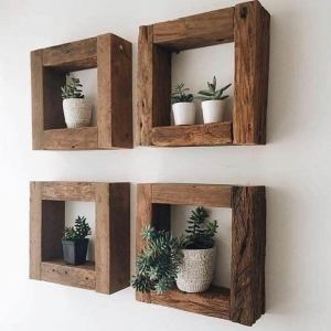 Eco Friendly Home Decor Rustic Square Shelves