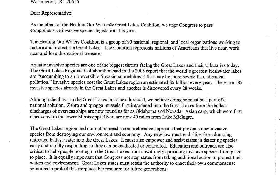 Coalition and Others to U.S. House of Representatives Regarding Invasive Species