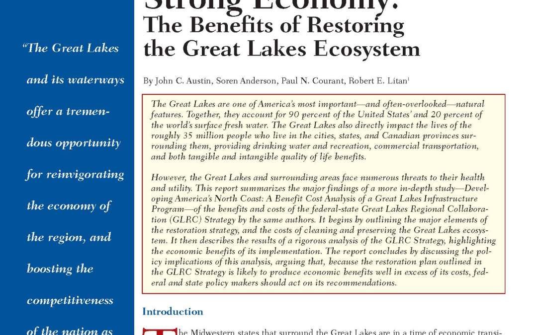 Healthy Waters, Strong Economy: The Benefits of Restoring the Great Lakes Ecosystem