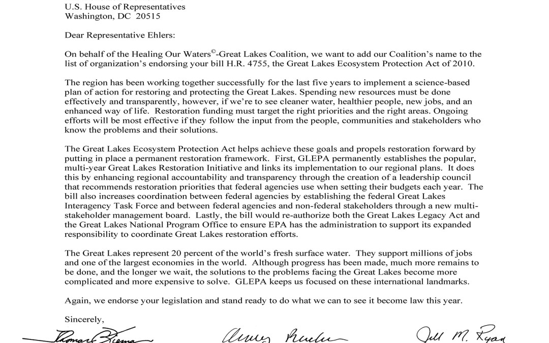 Coalition to Rep. Vernon Ehlers Regarding the Great Lakes Ecosystem Protection Act