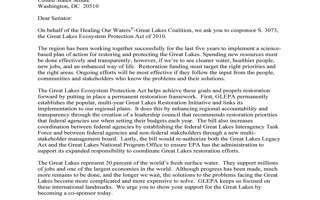 Coalition to Senators Regarding the Great Lakes Ecosystem Protection Act